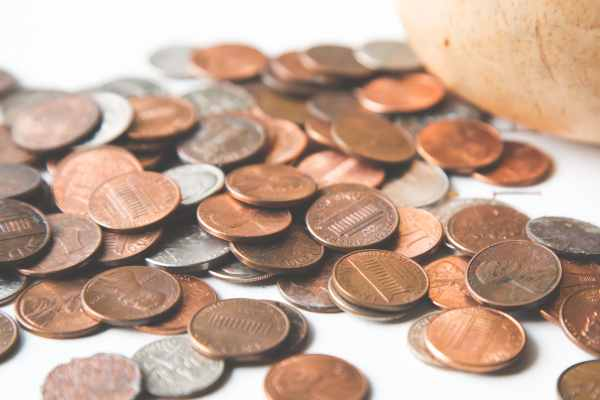 pennies on a counter